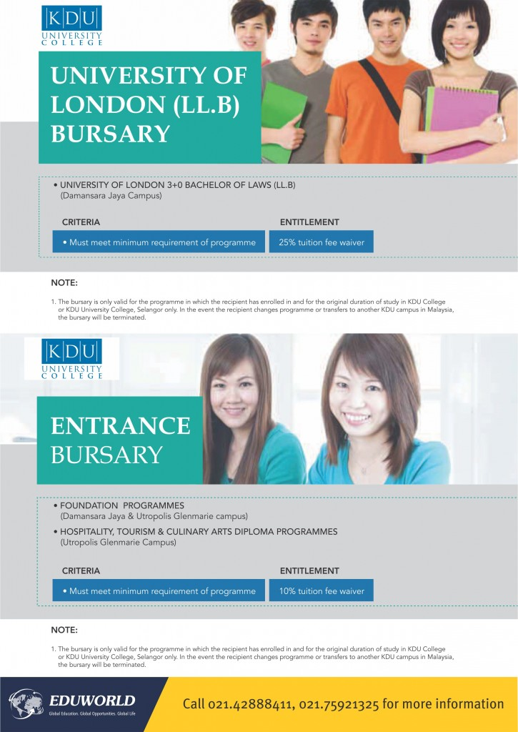 2016 KDU Bursaries for International Students